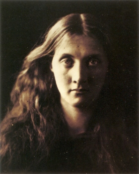 "Cameron portrait (left) of Julia Prinsep Jackson, later Julia Stephen, Cameron's niece, favorite subject, and mother of the author Virginia Woolf. ""The Red Man"" (right) photograph by Gertrude Käsebier"